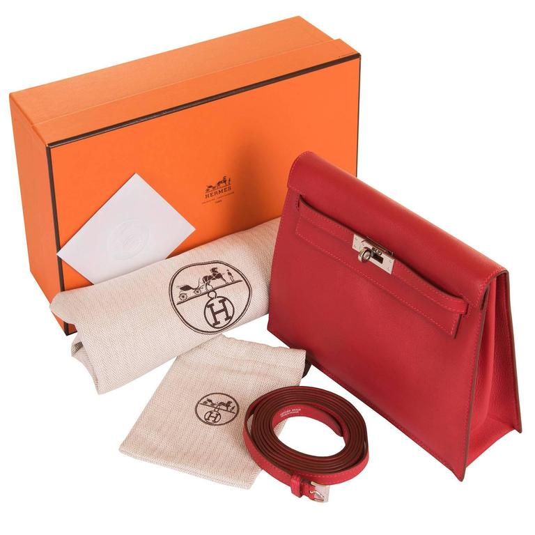 RARE & PRISTINE Hermes Danse Kelly Bag in Swift Leather with Palladium Hardware 9