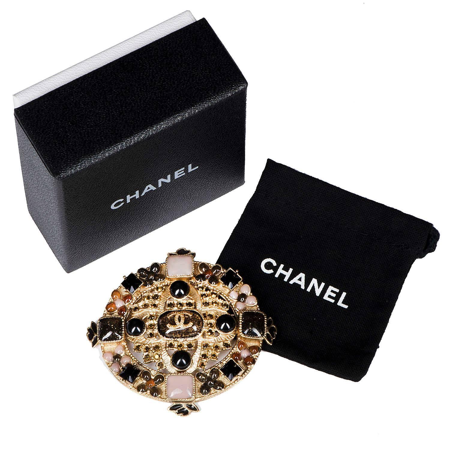 Rare chanel brooch with pink yellow black and amber stones for sale