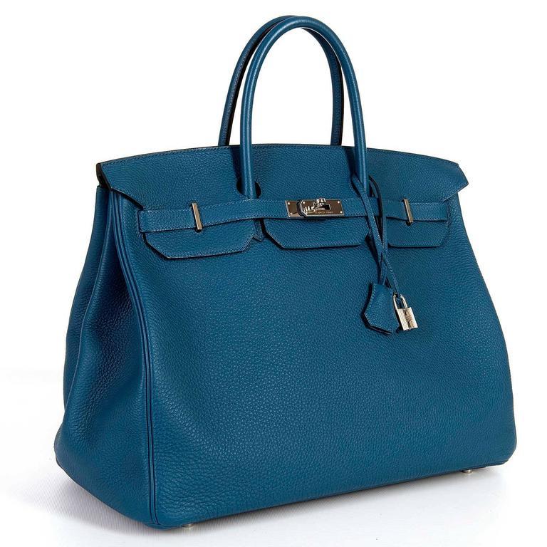 As New Hermes 40cm Cobalt Blue Togo leather Birkin with Palladium Hardware  2