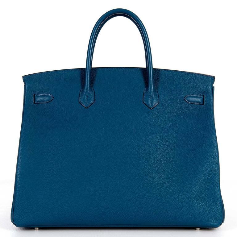 As New Hermes 40cm Cobalt Blue Togo leather Birkin with Palladium Hardware  3