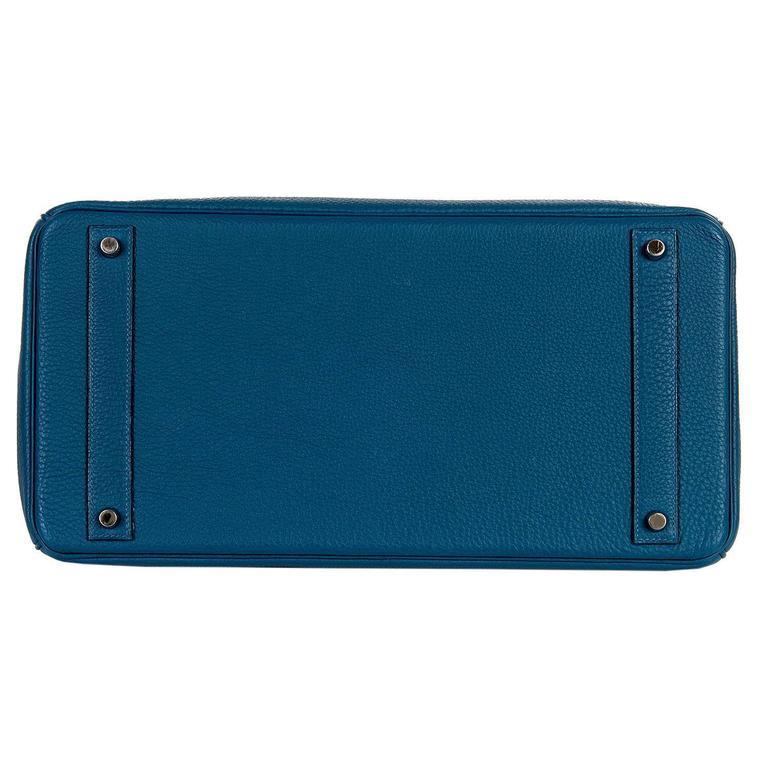 As New Hermes 40cm Cobalt Blue Togo leather Birkin with Palladium Hardware  4