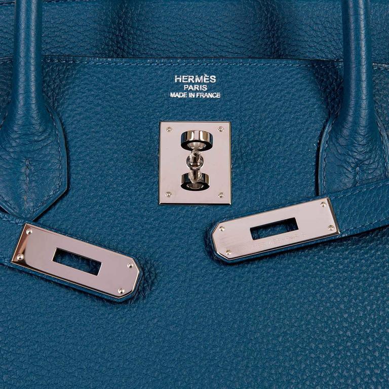 As New Hermes 40cm Cobalt Blue Togo leather Birkin with Palladium Hardware  6