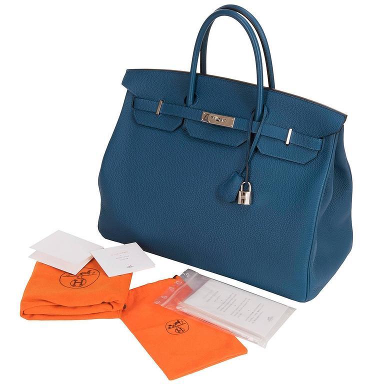 As New Hermes 40cm Cobalt Blue Togo leather Birkin with Palladium Hardware  9