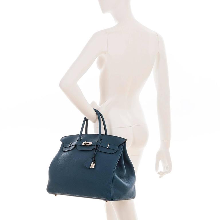 As New Hermes 40cm Cobalt Blue Togo leather Birkin with Palladium Hardware  10