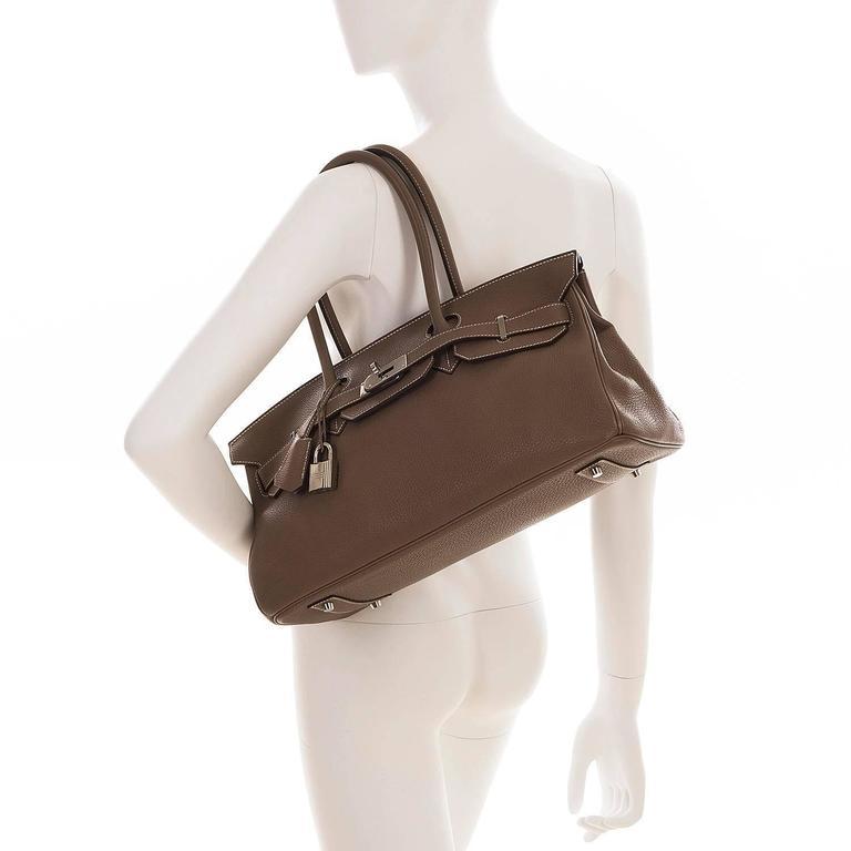 WOW Hermes 42cm JPG Birkin Bag in Etoupe Togo with Palladium Hardware 8