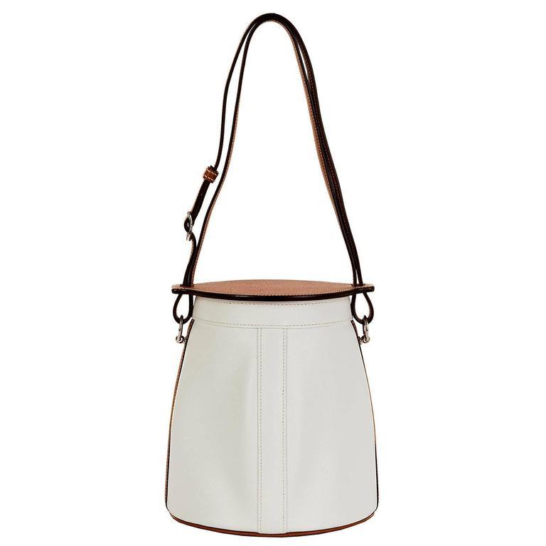 Rare Limited Edition Hermes White 'Farming' Bag White Epsom & Barenia Leathers 2