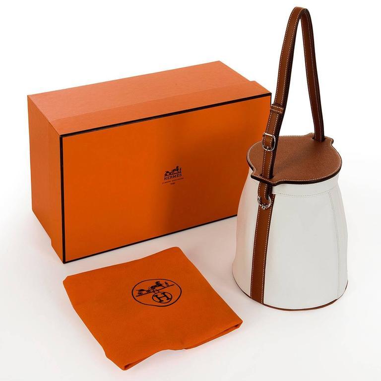 Rare Limited Edition Hermes White 'Farming' Bag White Epsom & Barenia Leathers 3