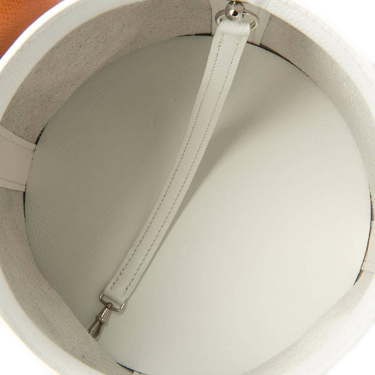 Rare Limited Edition Hermes White 'Farming' Bag White Epsom & Barenia Leathers 5