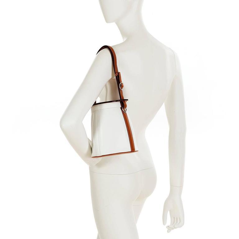 Rare Limited Edition Hermes White 'Farming' Bag White Epsom & Barenia Leathers 8