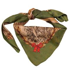 A Very Rare Hermes Silk Damask Scarf 'Napoleon' by Philippe Ledoux