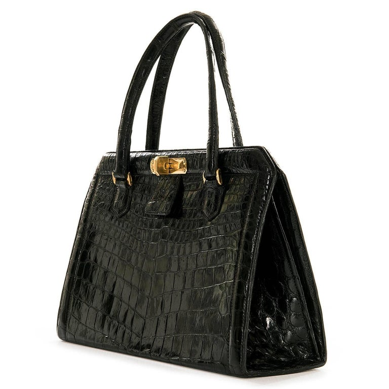 Very Rare Vintage Hermes 29cm Black 'Sac Metro' Shiny Crocodile Handbag 2