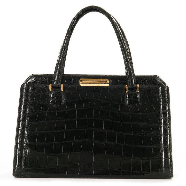 Very Rare Vintage Hermes 29cm Black 'Sac Metro' Shiny Crocodile Handbag 3