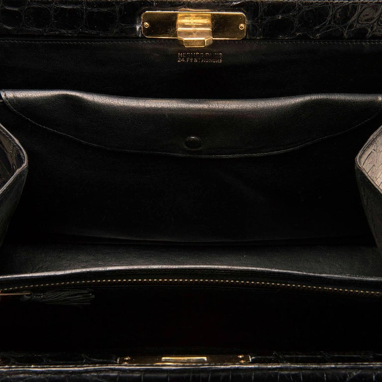Very Rare Vintage Hermes 29cm Black 'Sac Metro' Shiny Crocodile Handbag 5