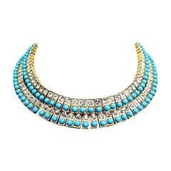Tony Duquette Prototype Faux Diamond Turquoise Collar, 1950s