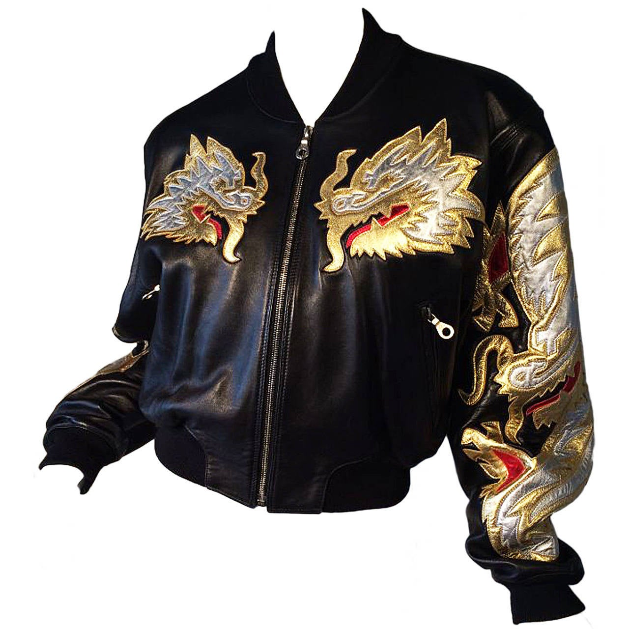 North Beach Leather Quot Dragon Quot Bomber Jacket 1980s At 1stdibs