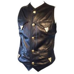 Gents Versace Leather Waistcoat 1980s
