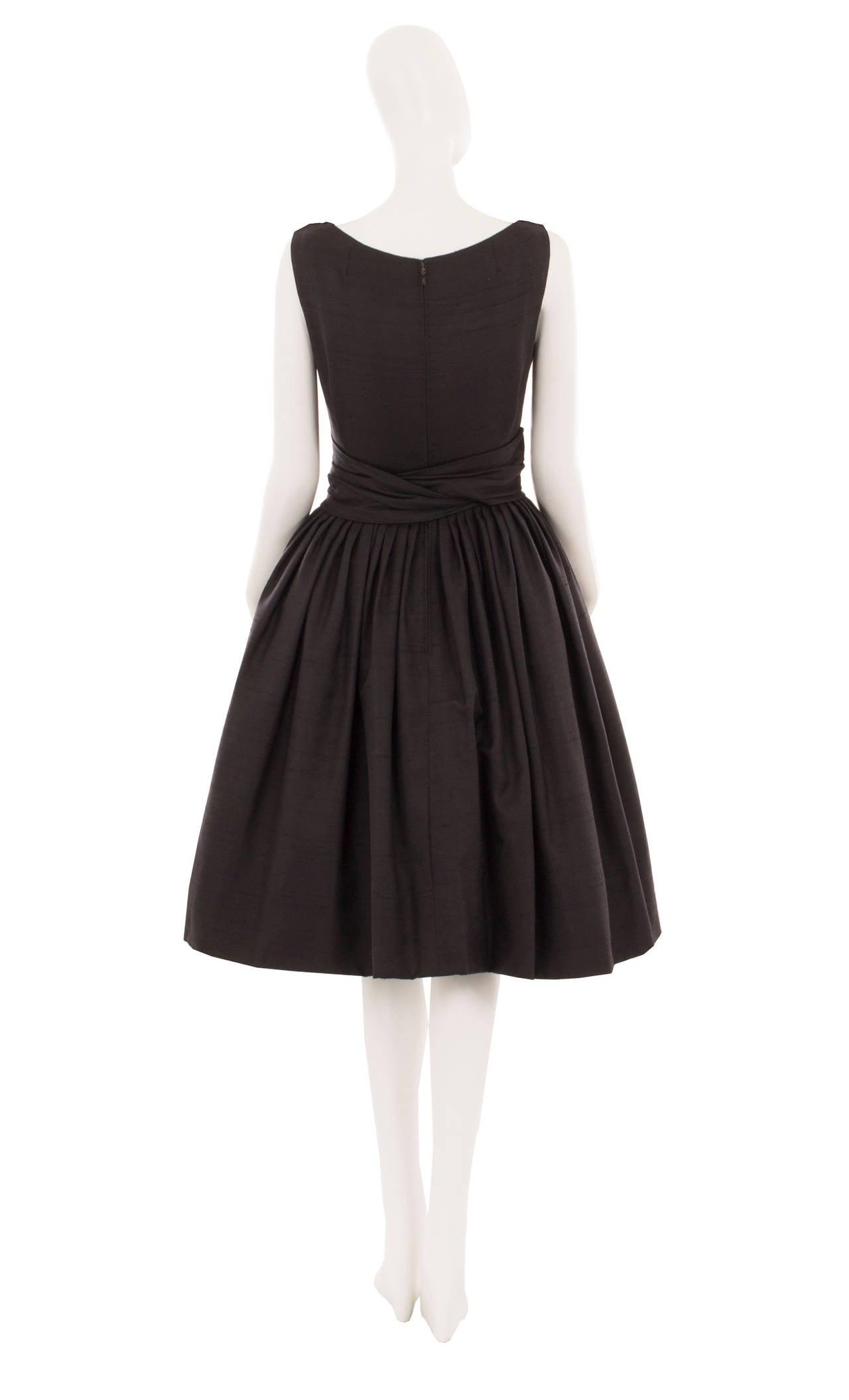 Dior Black Silk Dress, Circa 1958 In Excellent Condition For Sale In London, GB