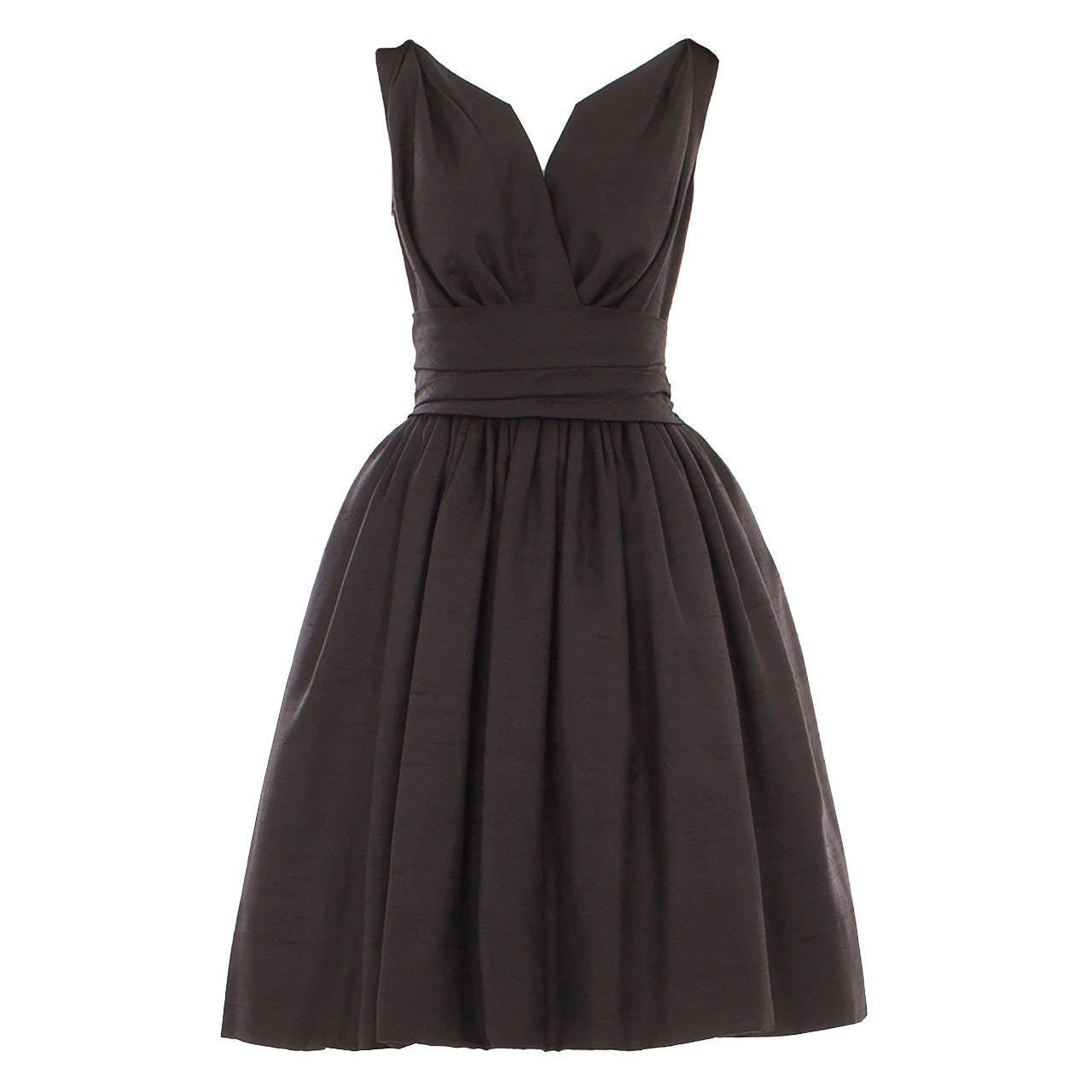 Dior Black Silk Dress, Circa 1958 For Sale