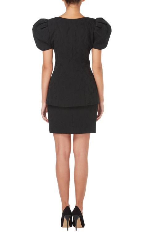 Black Christian Lacroix black matelassé skirt & top, Spring/Summer 1988 For Sale