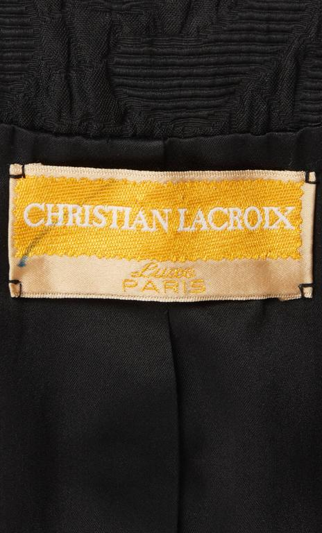 Women's Christian Lacroix black matelassé skirt & top, Spring/Summer 1988 For Sale