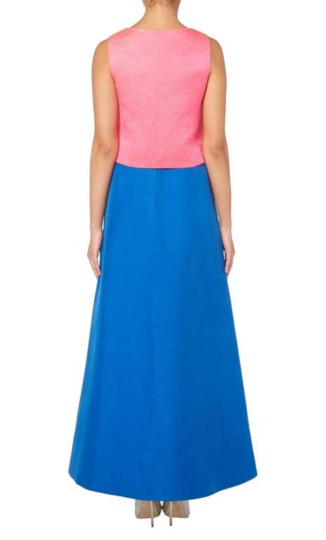 Blue Balenciaga pink top with blue skirt, circa 1968 For Sale