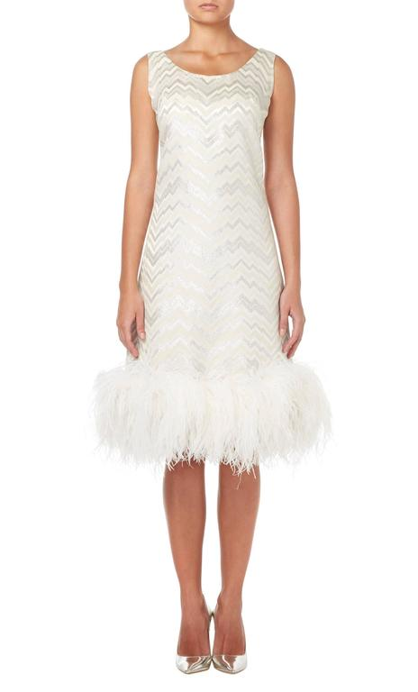 Joseph Magnin white feather dress, circa 1965 2