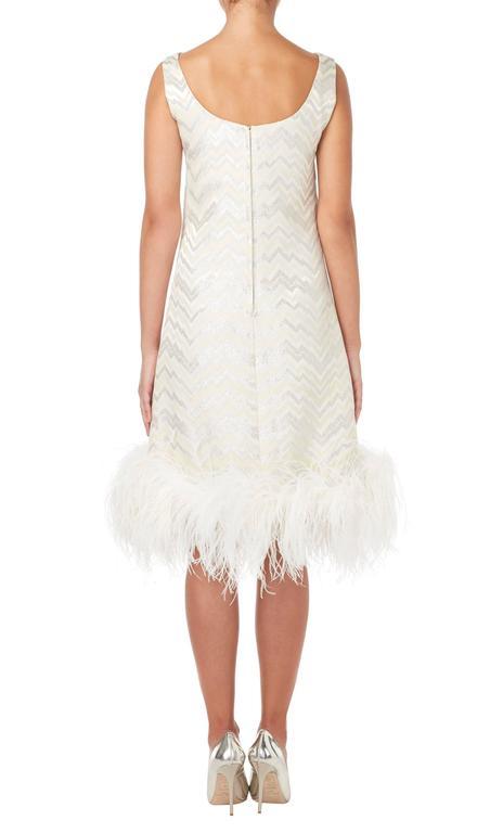 White Joseph Magnin white feather dress, circa 1965 For Sale