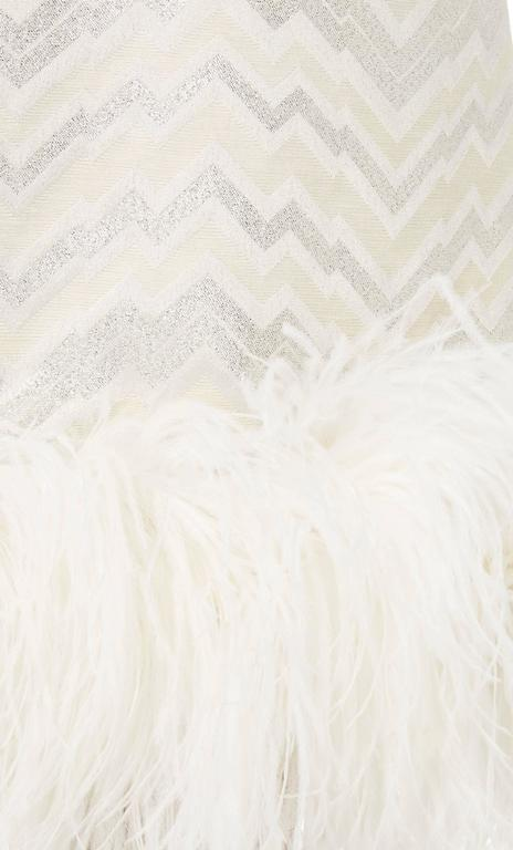 Joseph Magnin white feather dress, circa 1965 In Excellent Condition For Sale In London, GB