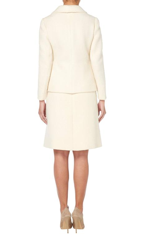 White Ted Lapidus ivory skirt suit, circa 1965 For Sale