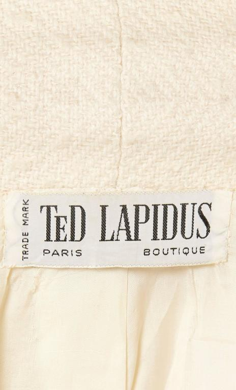 Ted Lapidus ivory skirt suit, circa 1965 In Excellent Condition For Sale In London, GB