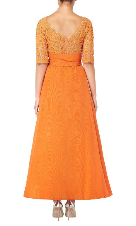 Orange Sybil Connolly orange top and skirt, circa 1958 For Sale