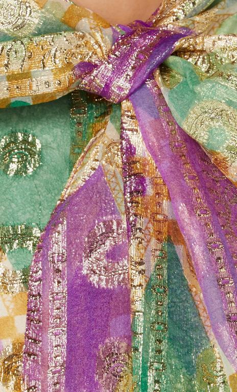 Oscar de la Renta purple and green lurex dress, circa 1968 4