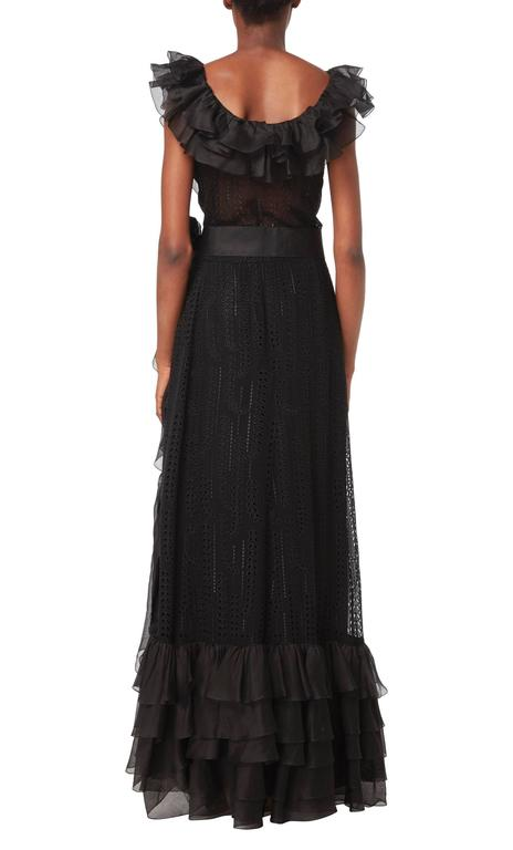 Black Chanel haute couture black gown, circa 1974 For Sale