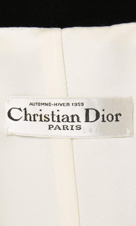 Women's Dior haute couture black coat, Autumn/Winter 1959 For Sale