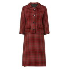 Balenciaga red houndstooth skirt suit, circa 1960