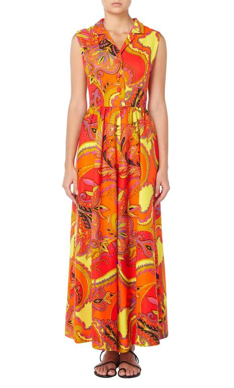 Lord & Taylor orange & yellow print jumpsuit, circa 1968 2