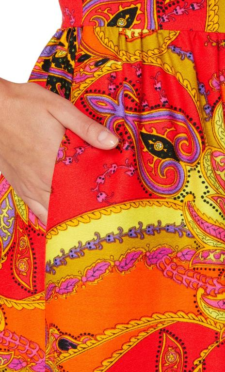Lord & Taylor orange & yellow print jumpsuit, circa 1968 In Excellent Condition For Sale In London, GB