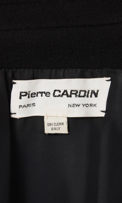 Pierre Cardin black coat, circa 1964 In Excellent Condition For Sale In London, GB