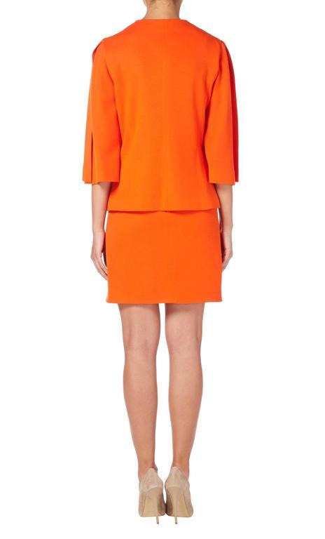 Red Pierre Cardin orange skirt suit, circa 1980 For Sale