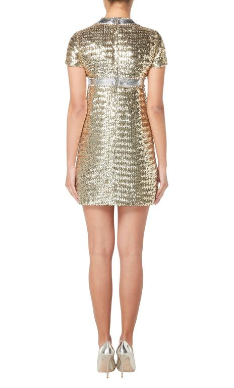 Gold Pat Sandler gold sequin dress, circa 1967 For Sale
