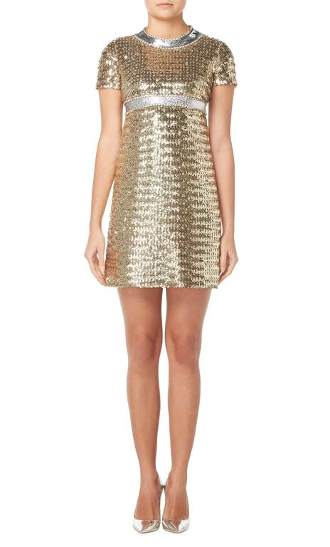 Constructed in gold sequins with a silver sequin neckline and waistband Featuring crystal trims to the neckline and waistline Zip fastening to the rear Excellent condition with the original label, lining and fastenings Professionally dry cleaned