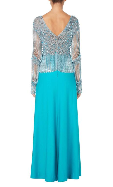 Blue Azzaro turquoise skirt & top, circa 1978 For Sale