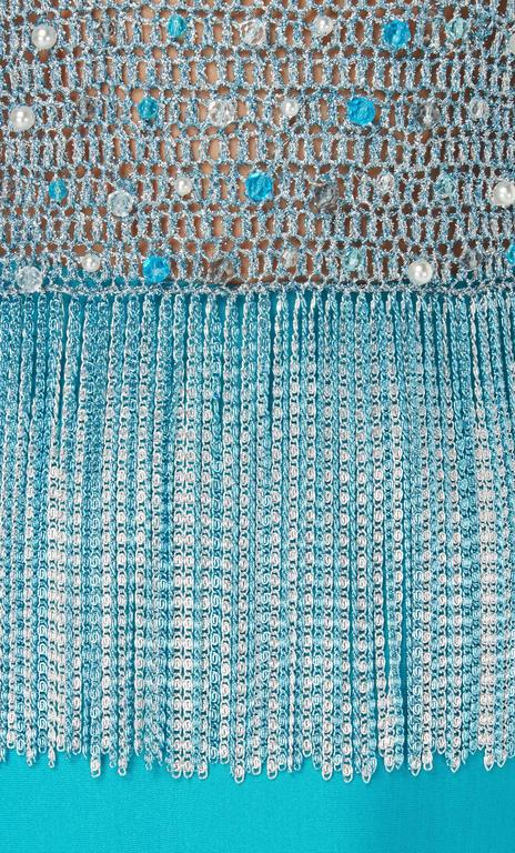 Azzaro turquoise skirt & top, circa 1978 In Excellent Condition For Sale In London, GB