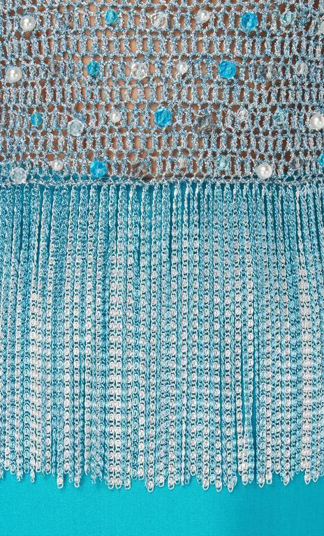 Azzaro turquoise skirt & top, circa 1978 4