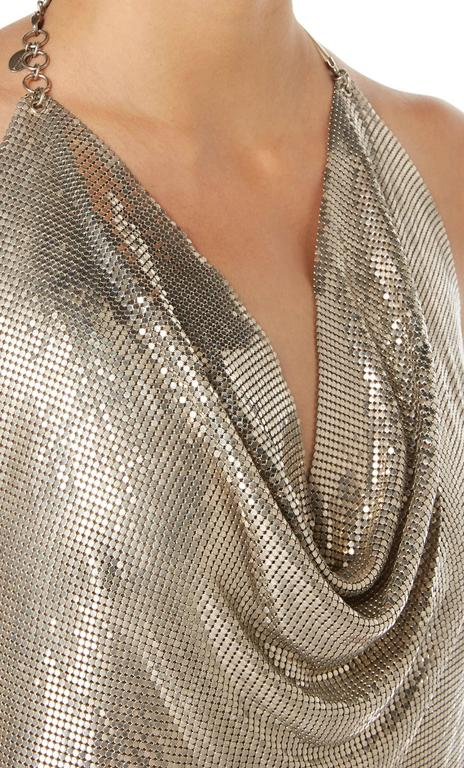 Brown Paco Rabanne silver chainmail top, circa 1968 For Sale