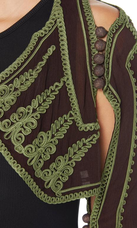 Jean Paul Gaultier brown & green bolero, circa 1997 In Excellent Condition For Sale In London, GB