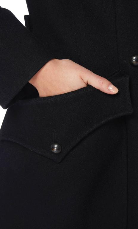 Yves Saint Laurent black peacoat, circa 1979 In Excellent Condition For Sale In London, GB