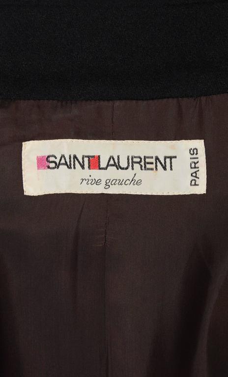 Yves Saint Laurent black peacoat, circa 1979 5
