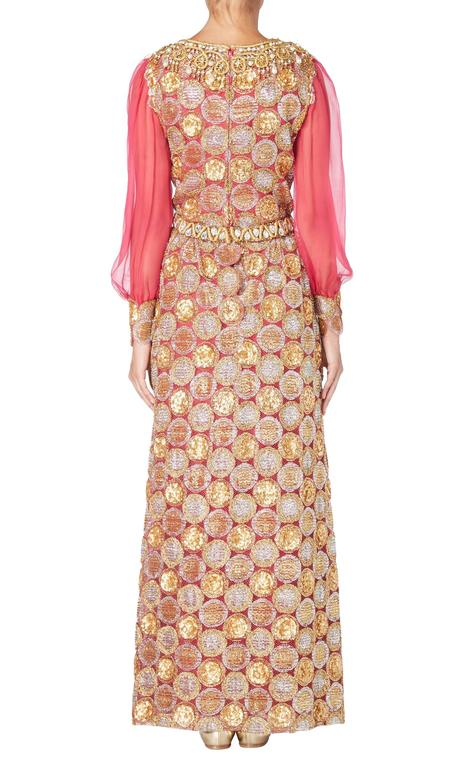 Beige Oscar de la Renta pink and gold dress, Circa 1968 For Sale