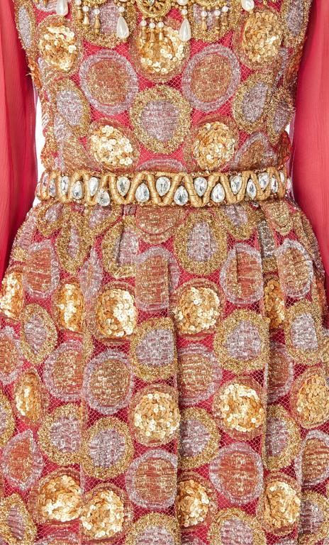 Oscar de la Renta pink and gold dress, Circa 1968 4